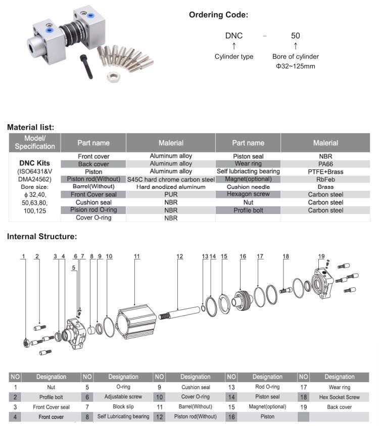 DNC ISO6431 standard cylinder kits