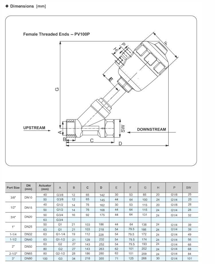 Angle Seat Valve(Piston Valve) series PV100 (threaded ends)