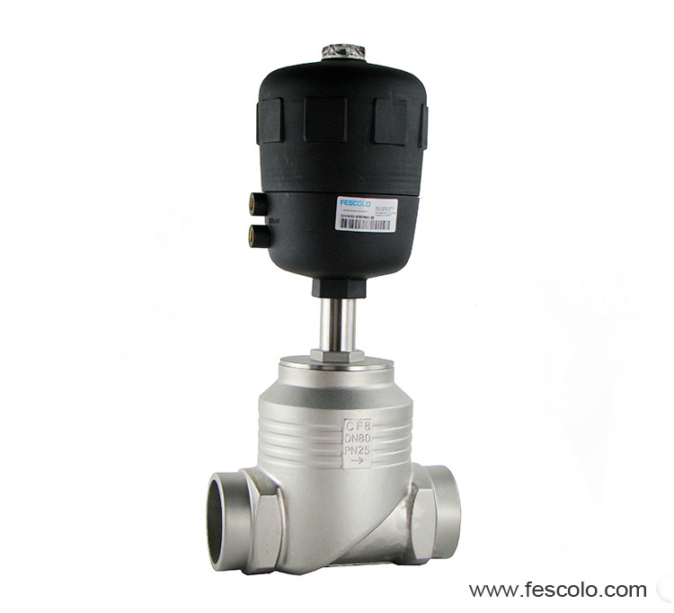 2ways piston controlled flat-seat valve
